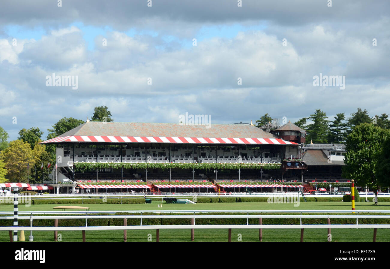 Modern horse race track preparing for race day - Stock Image