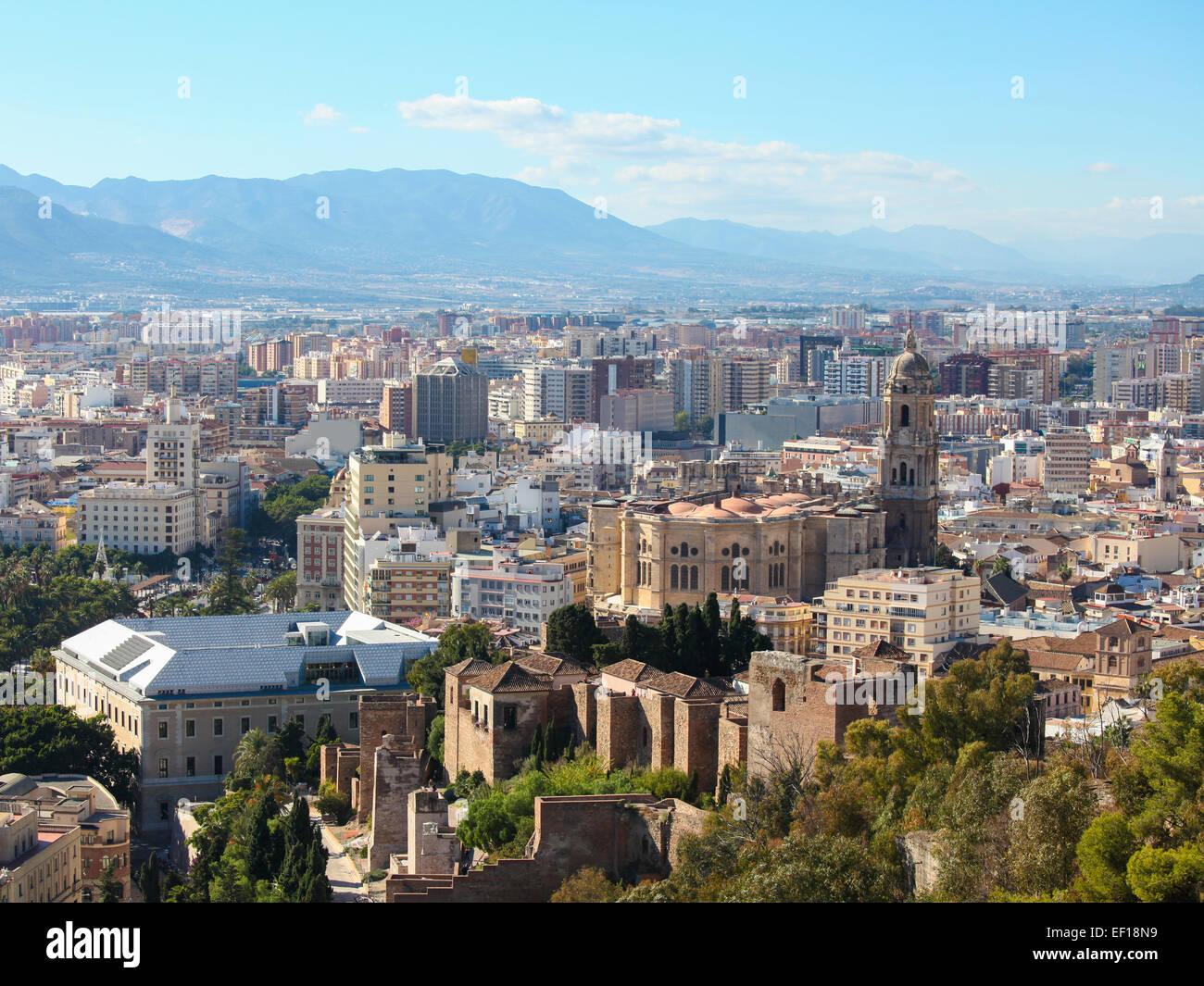 Aerial view on the center and cathedral of Malaga, Andalusia, Spain. - Stock Image