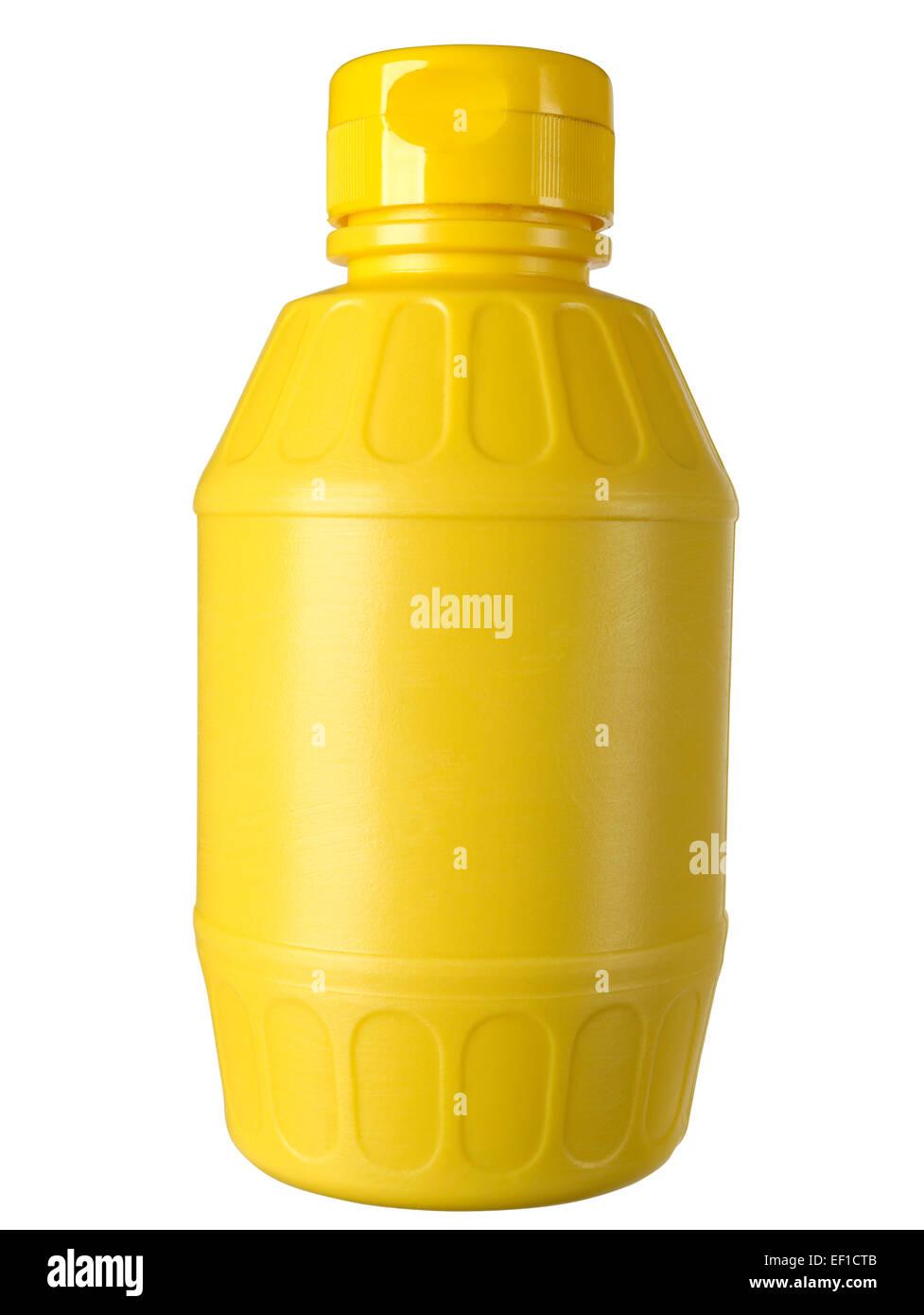 Plastic bottle of yellow mustard - Stock Image