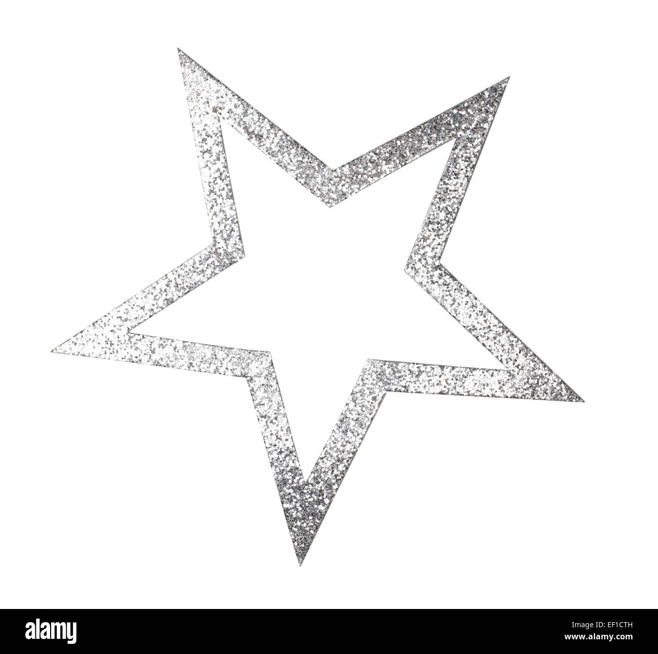 Silver Glittering star cutout - Stock Image