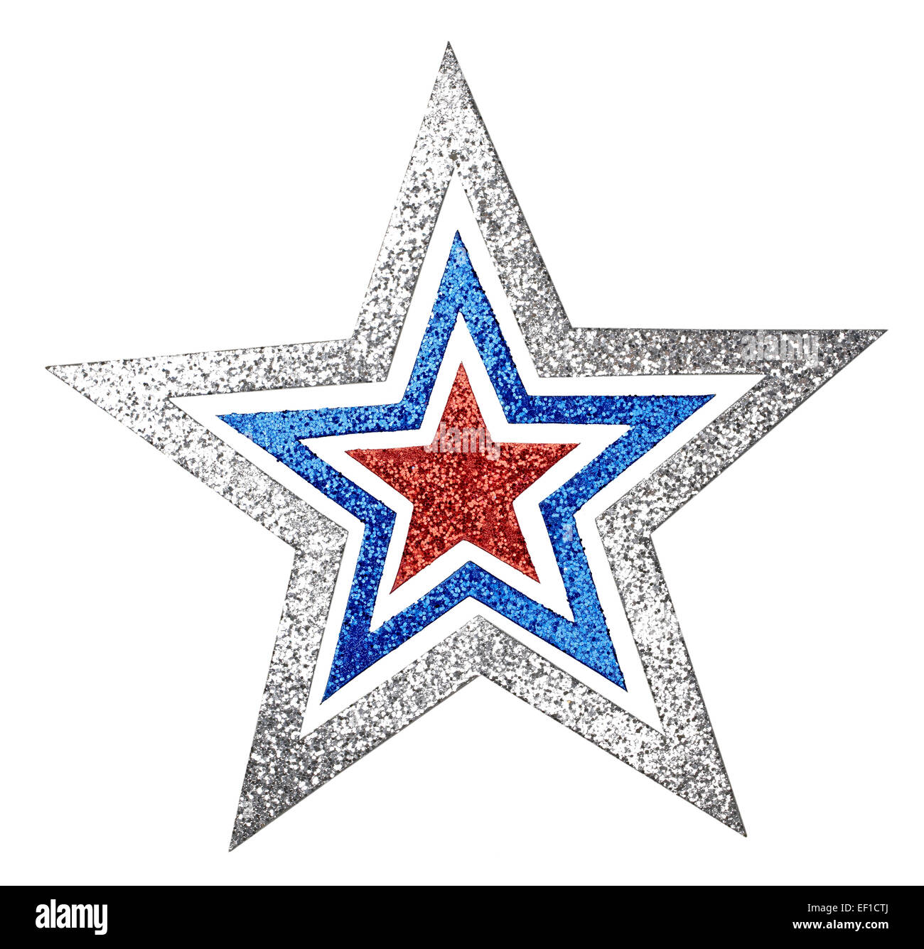Silver Blue Red Glittering star cutout - Stock Image