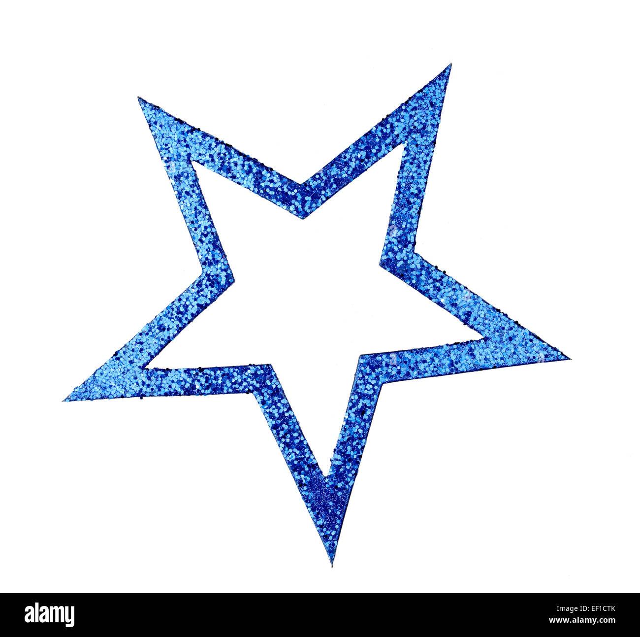 Blue Glittering star cutout - Stock Image
