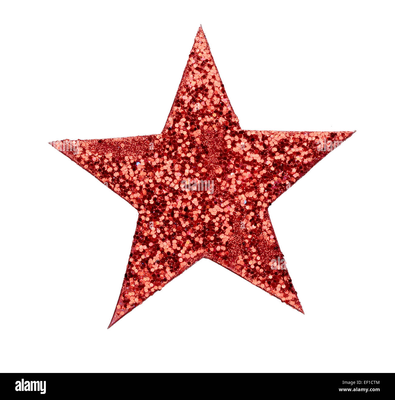 Red Glittering star cutout - Stock Image