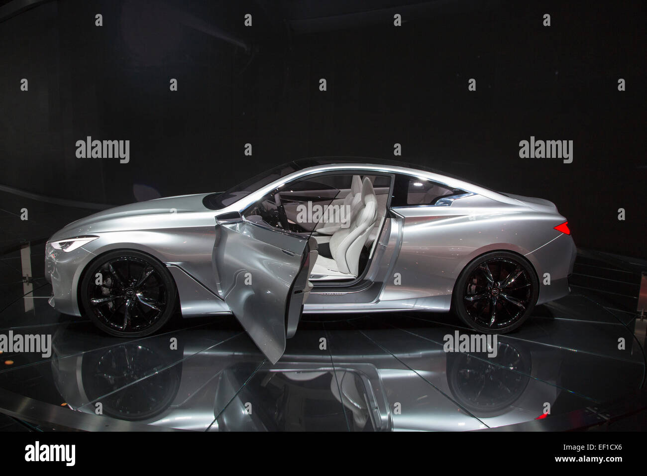 Detroit, Michigan - The Infiniti Q60 concept car on display at the North American International Auto Show. - Stock Image
