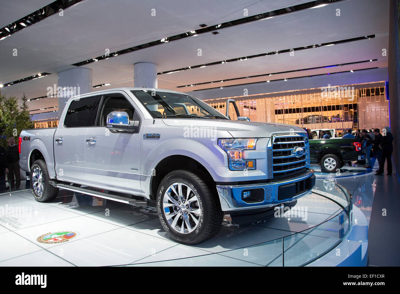 Detroit, Michigan - The Ford F-150 aluminum body pickup truck on display at the North American International Auto - Stock Image