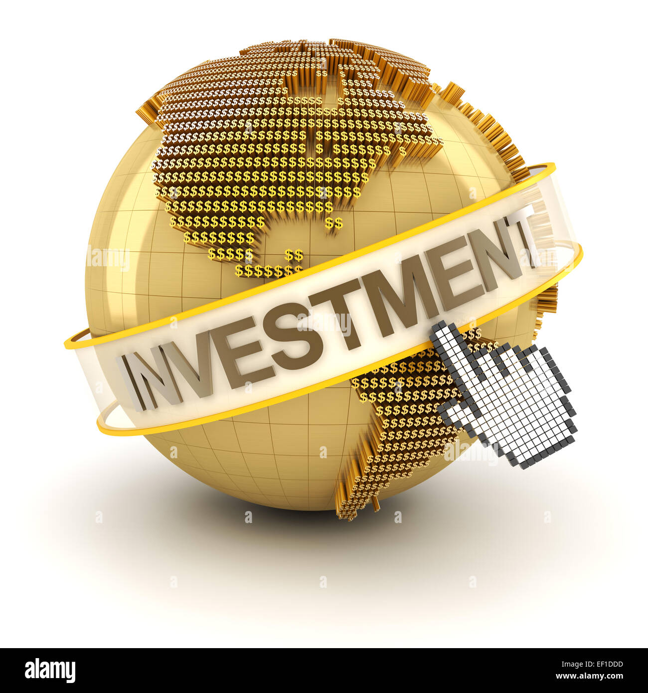 Golden globe with investment text - Stock Image