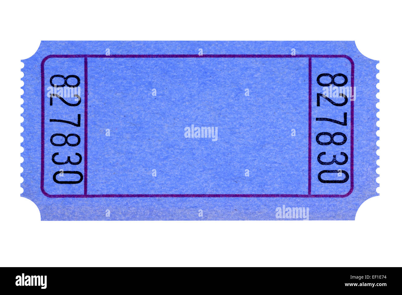 blank blue raffle ticket isolated on white background stock photo