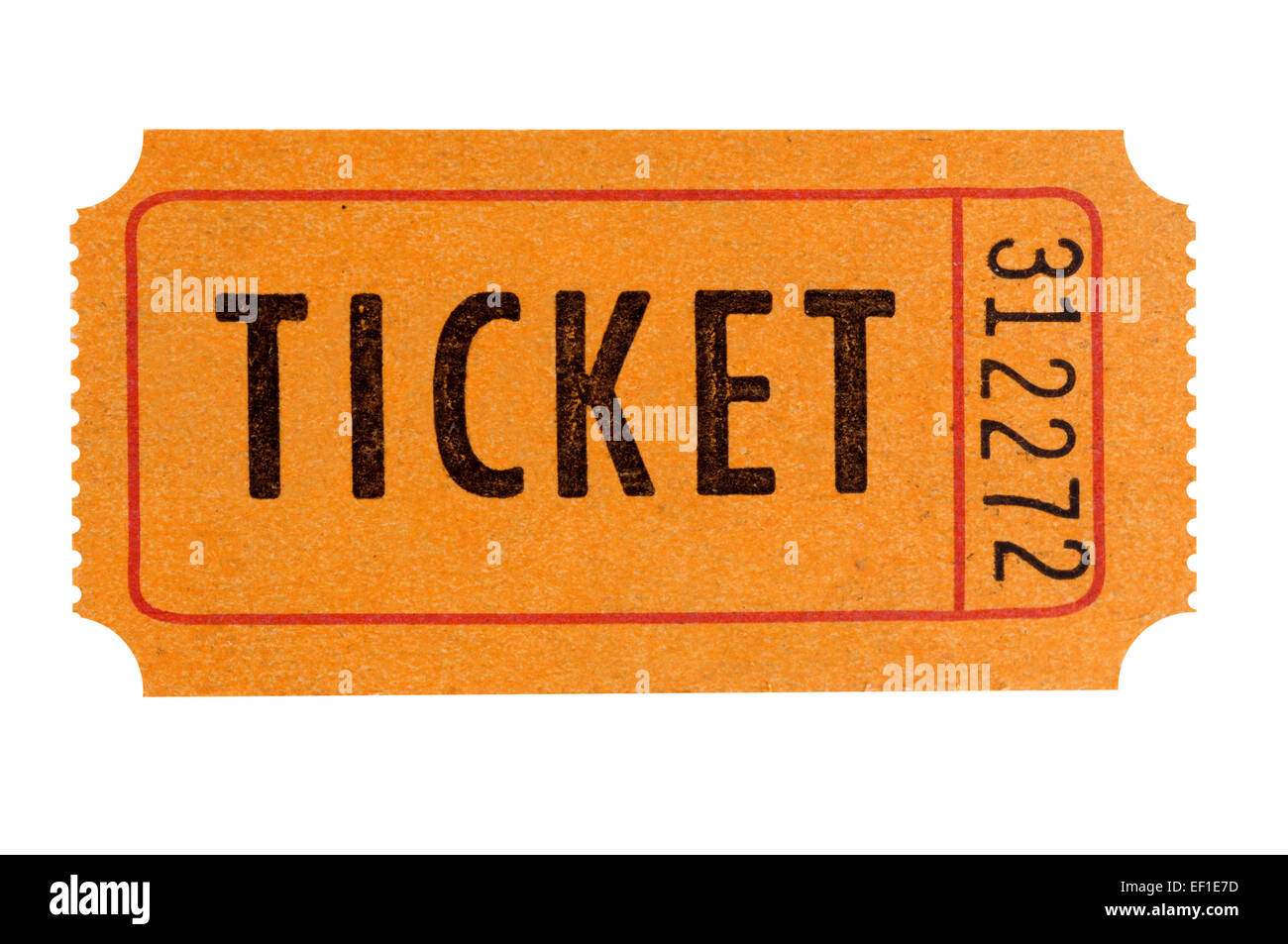 orange raffle ticket isolated on white background stock photo