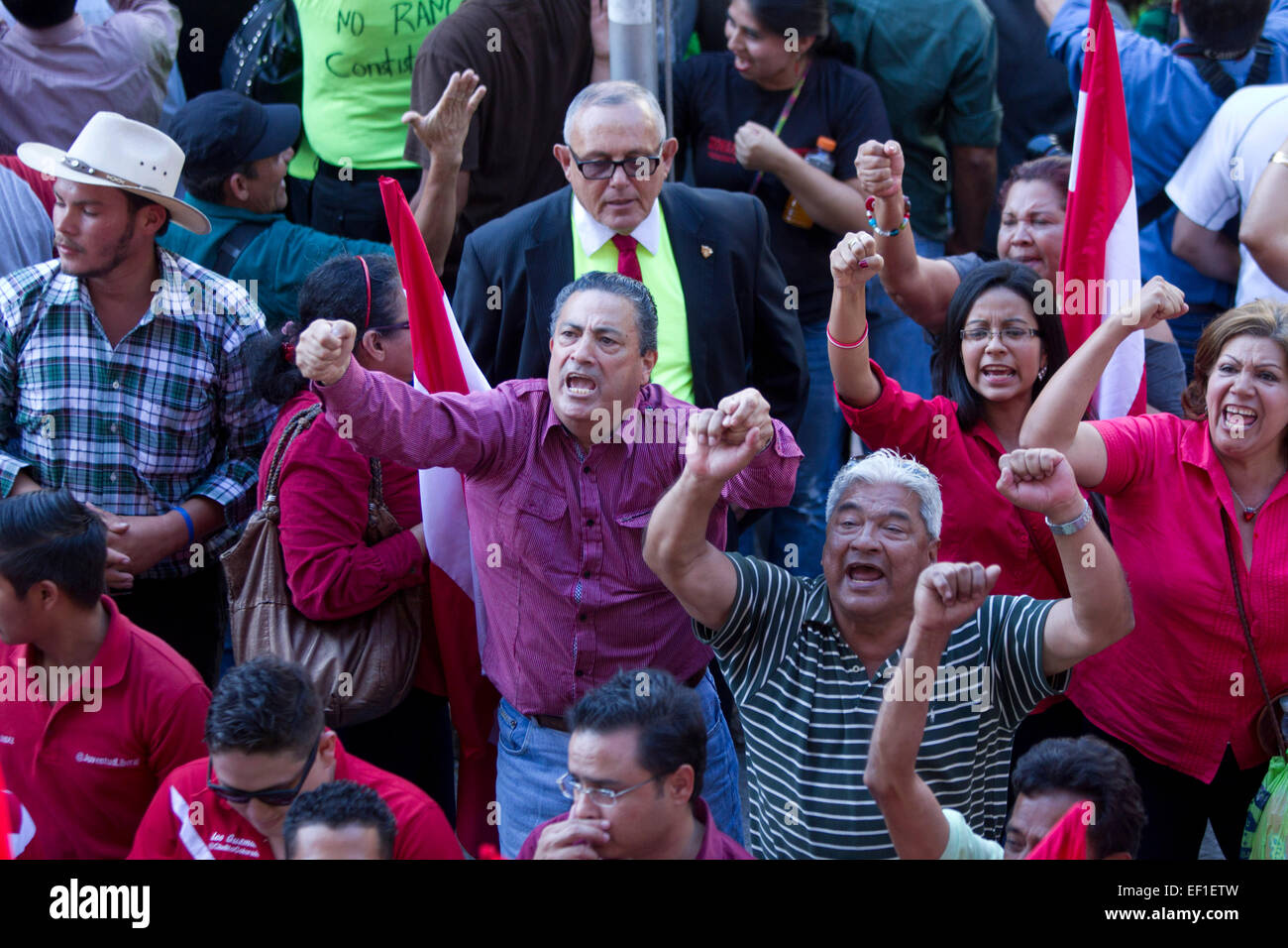 """(150125) -- TEGUCIGALPA, Jan. 25, 2015 (Xinhua) -- Supporters of the political party """"Libertad y Refundacion"""", whose leader is former Honduran President, Jose Manuel Zelaya Rosales, celebrate the constitutional non-ratification of the Military Police of Public Order (PMOP), in front of the National Congress, in Tegucigalpa city, Honduras, on Jan. 24, 2015. The Honduran Congress rejected on Saturday the proposal of the Executive Branch to grant constitutional rank to the PMOP, during the closing of the sessions of the first legislature. After the rejection of the lawmakers, President Juan Orlan Stock Photo"""