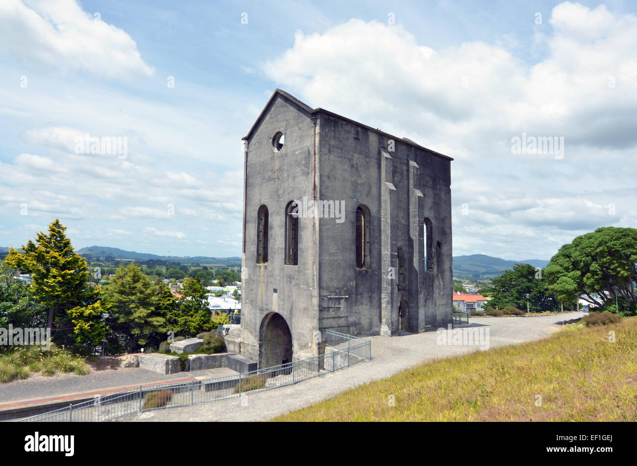 WAIHI, NZL - JAN 19 2015:Cornish Pumphouse in Waihi gold mine.The pump was used up to 1913 to raise water from a - Stock Image