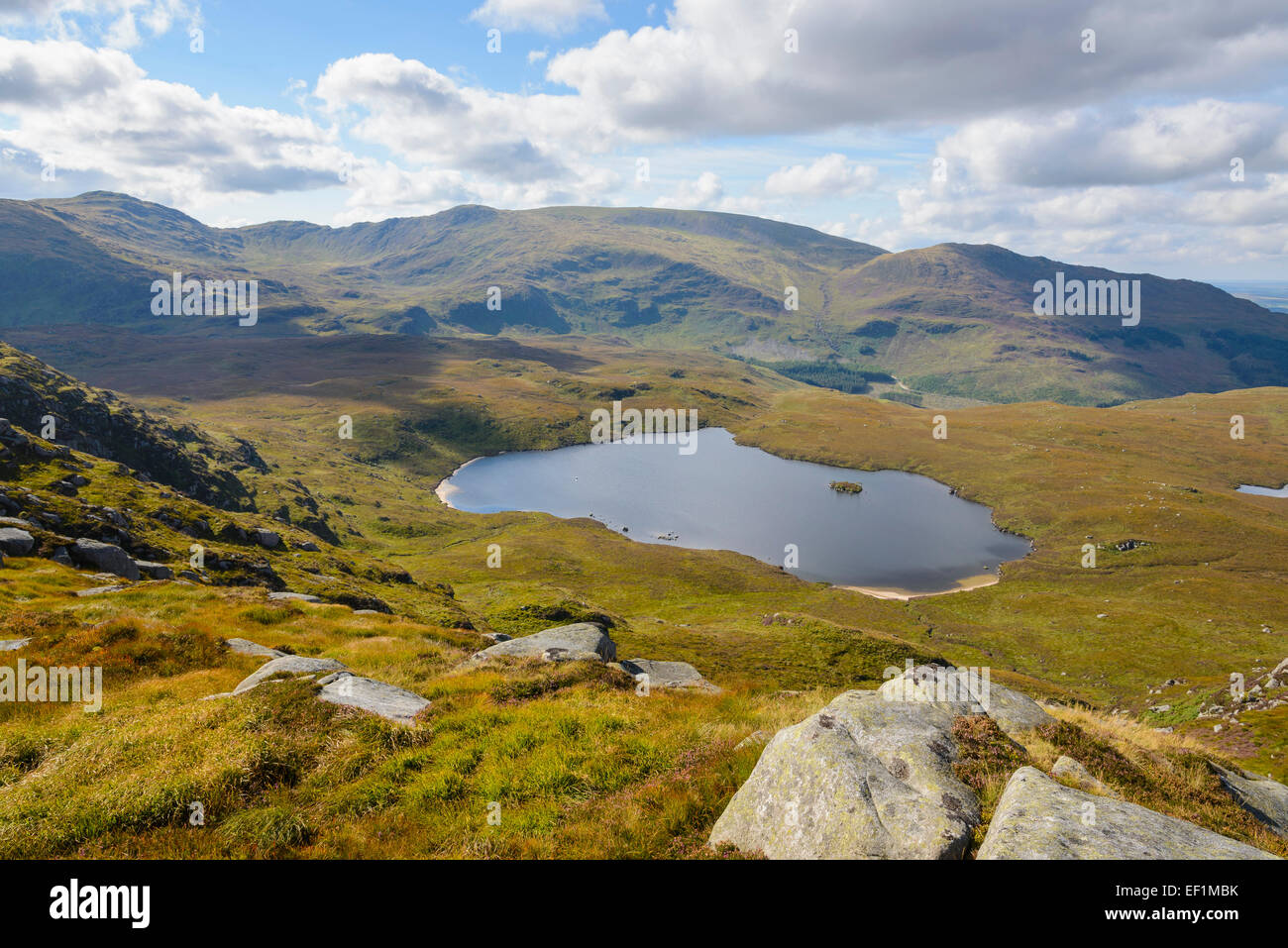 Round Loch of Glenhead from Rig of the Jarkness, Galloway Hills, Dumfries & Galloway, Scotland - Stock Image