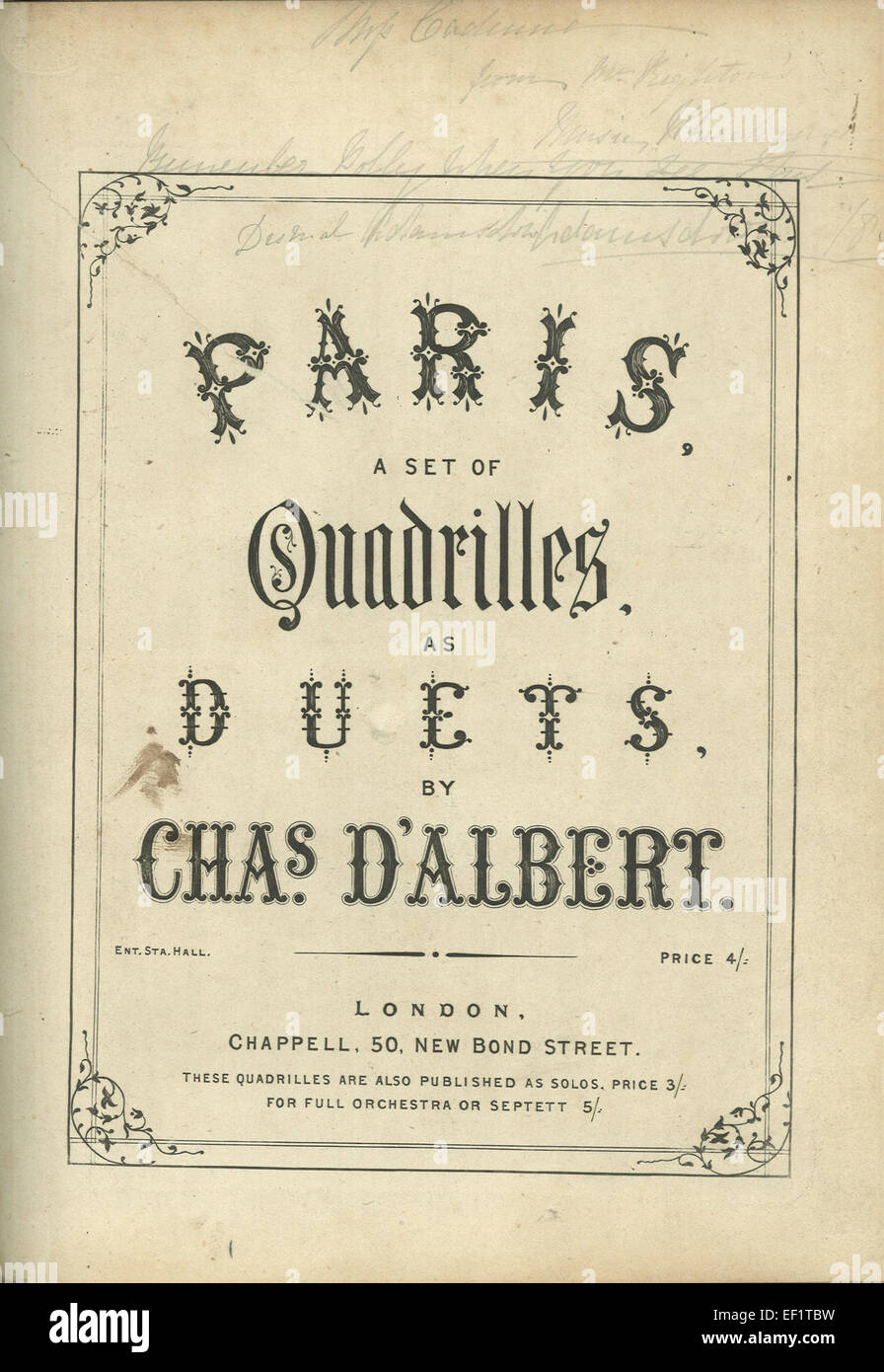 Paris a set of quadrilles as duets 157 - Stock Image