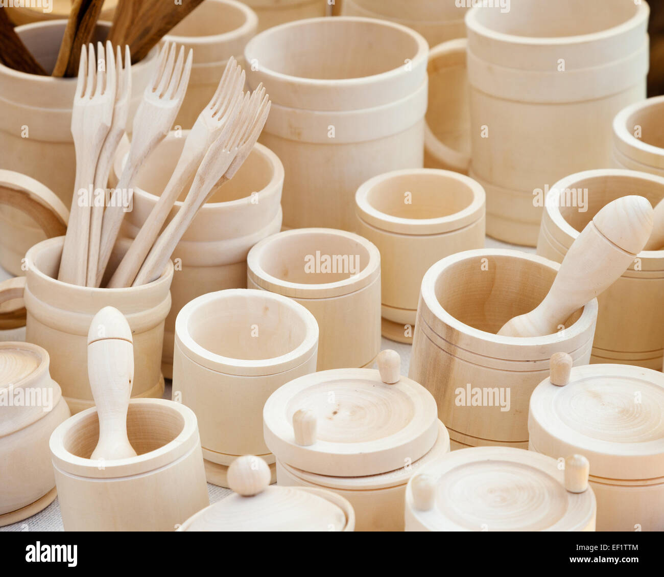 wooden kitchen utensils assortment - Stock Image