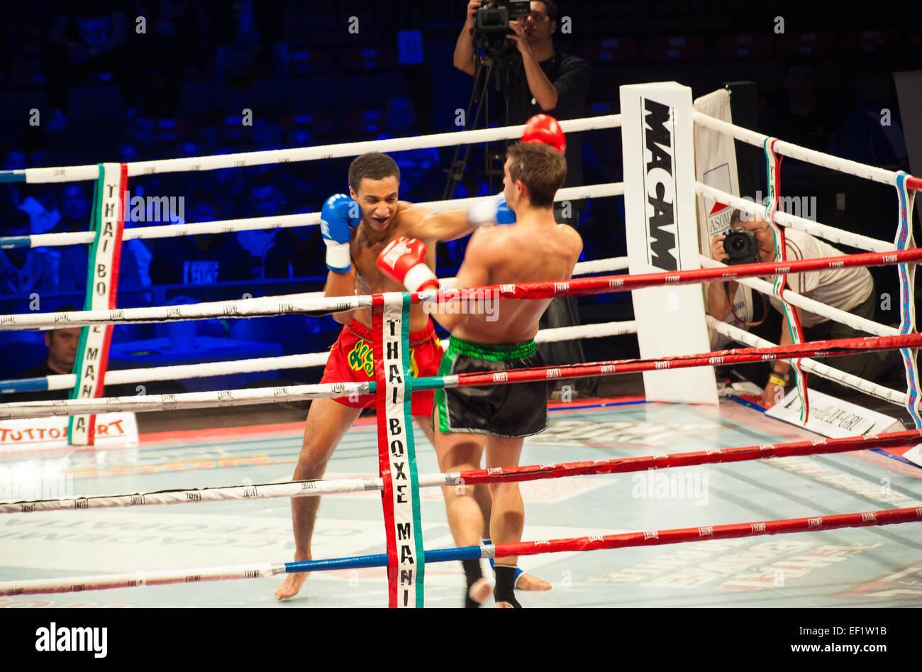 Torino, Italy. 24th January, 2015. Thai Box Mania - Prestige Pre Card -Match Bruno Belforge France Vs Sam El Bahjaoui. - Stock Image