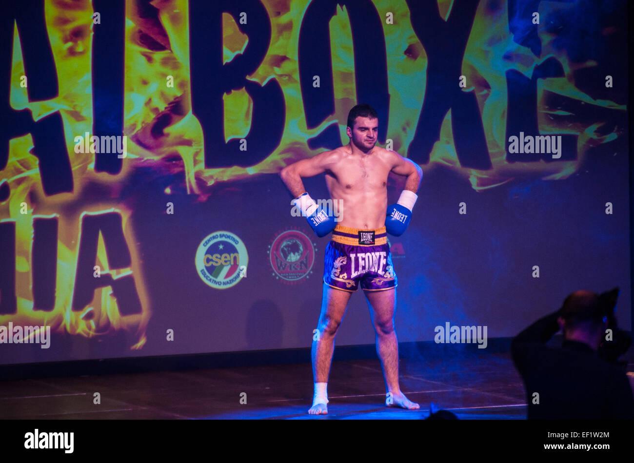 Torino, Italy. 24th January, 2015. Thai Box Mania -Prestige Pre - Card Alkid Farroku Albania VS Ismail Zahir Morocco. - Stock Image