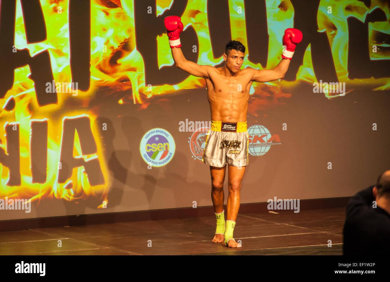 Torino, Italy. 24th January, 2015. Thai Box Mania _ Prestige Pre Card - Alkid Farruku  Albania VS Ismail Zahir Morocco - Stock Image