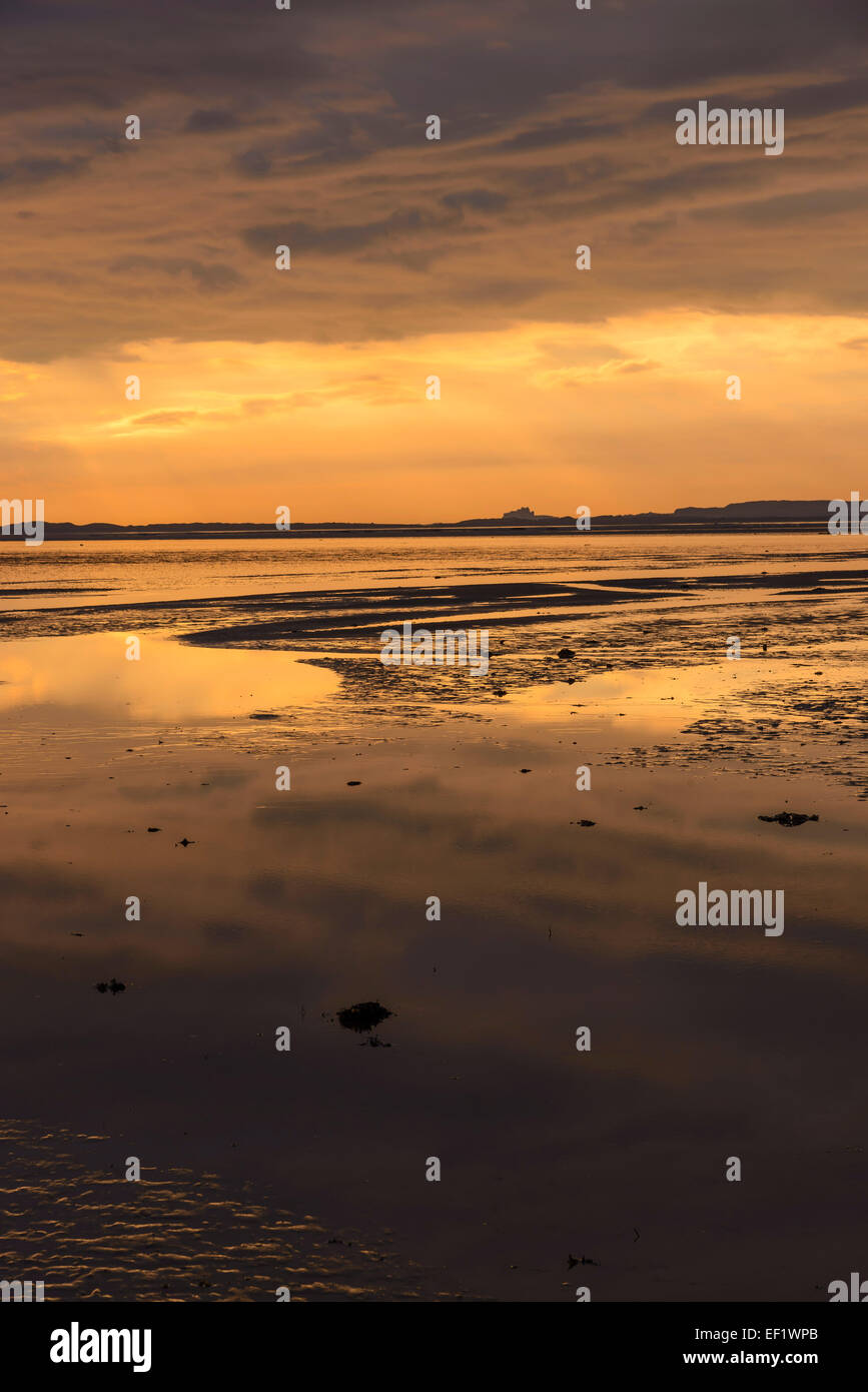 Holy Island Sands from the causeway, Lindisfarne, Northumberland, England - Stock Image