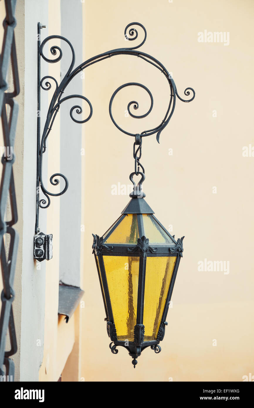 decorative wall street lamp on wall - Stock Image