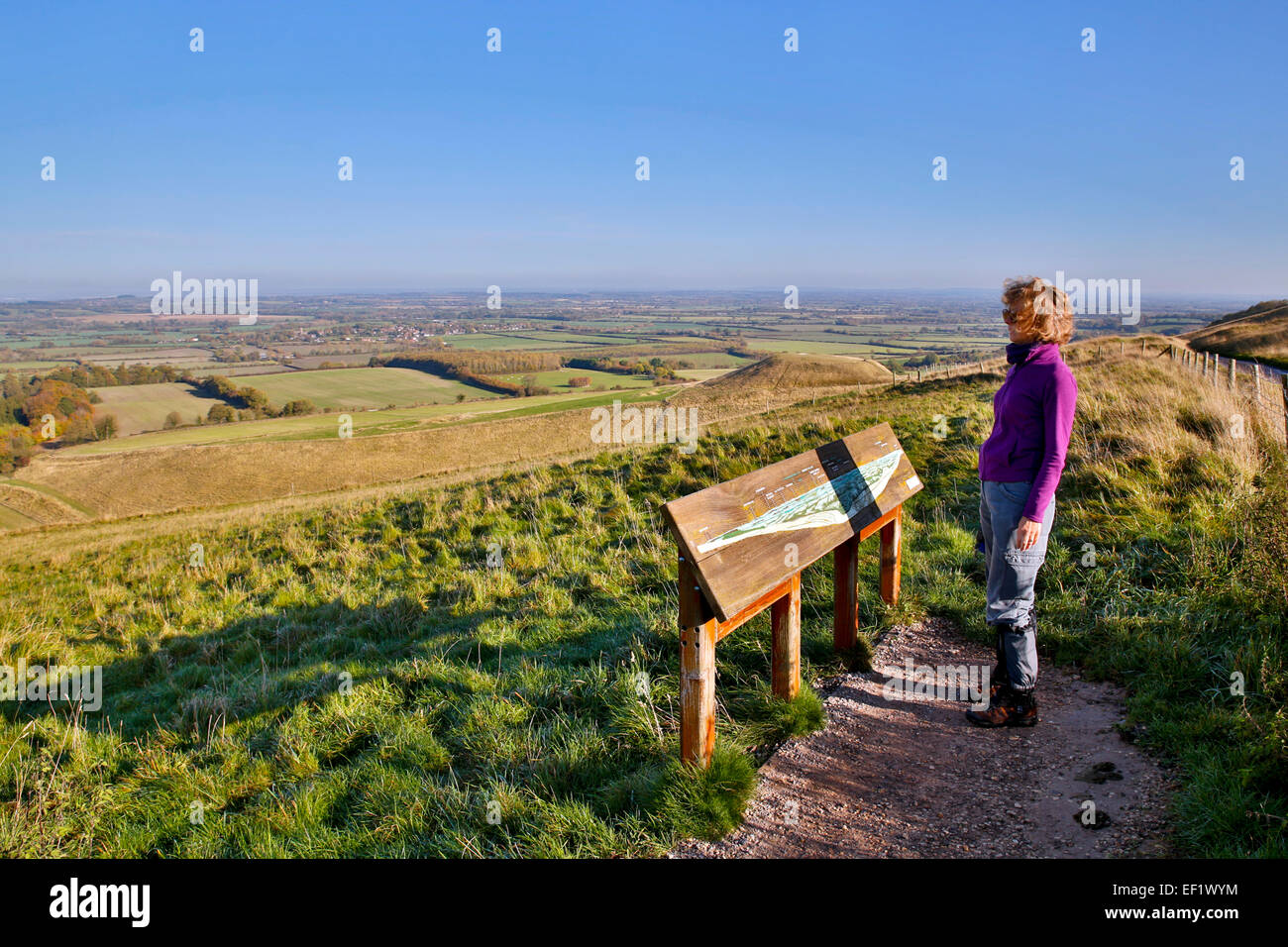 Uffington Viewpoint Woman Looking at View Oxfordshire; UK - Stock Image