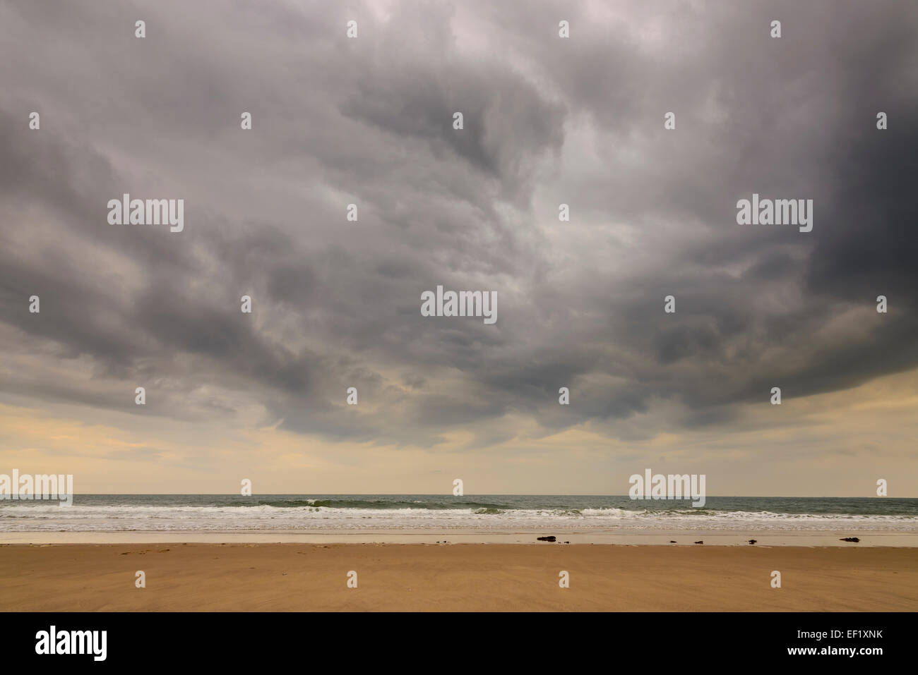 Storm clouds over Ross Sands, Northumberland, England - Stock Image
