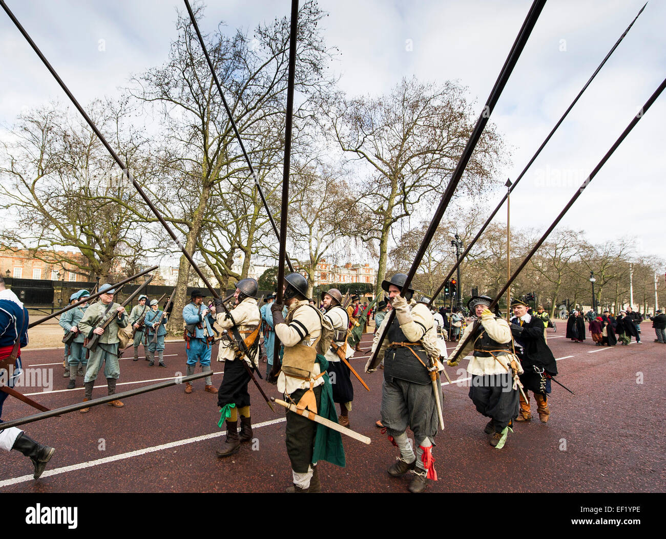 London, UK. 25th January, 2015. Every year Royalist members of the English Civil War Society assemble and - Stock Image