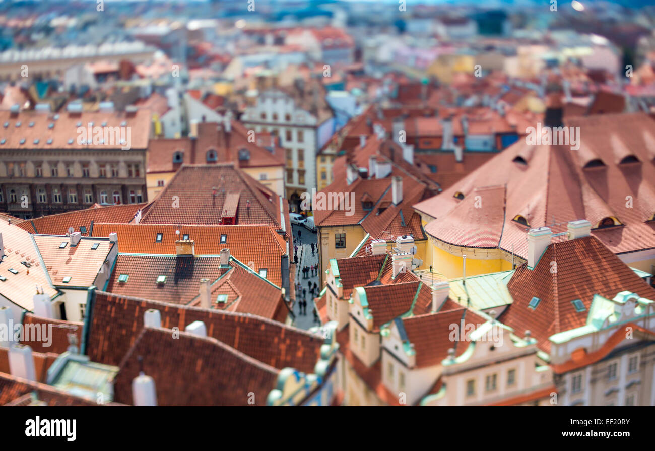 Prague view of the city from above. Tilt shift lens. - Stock Image
