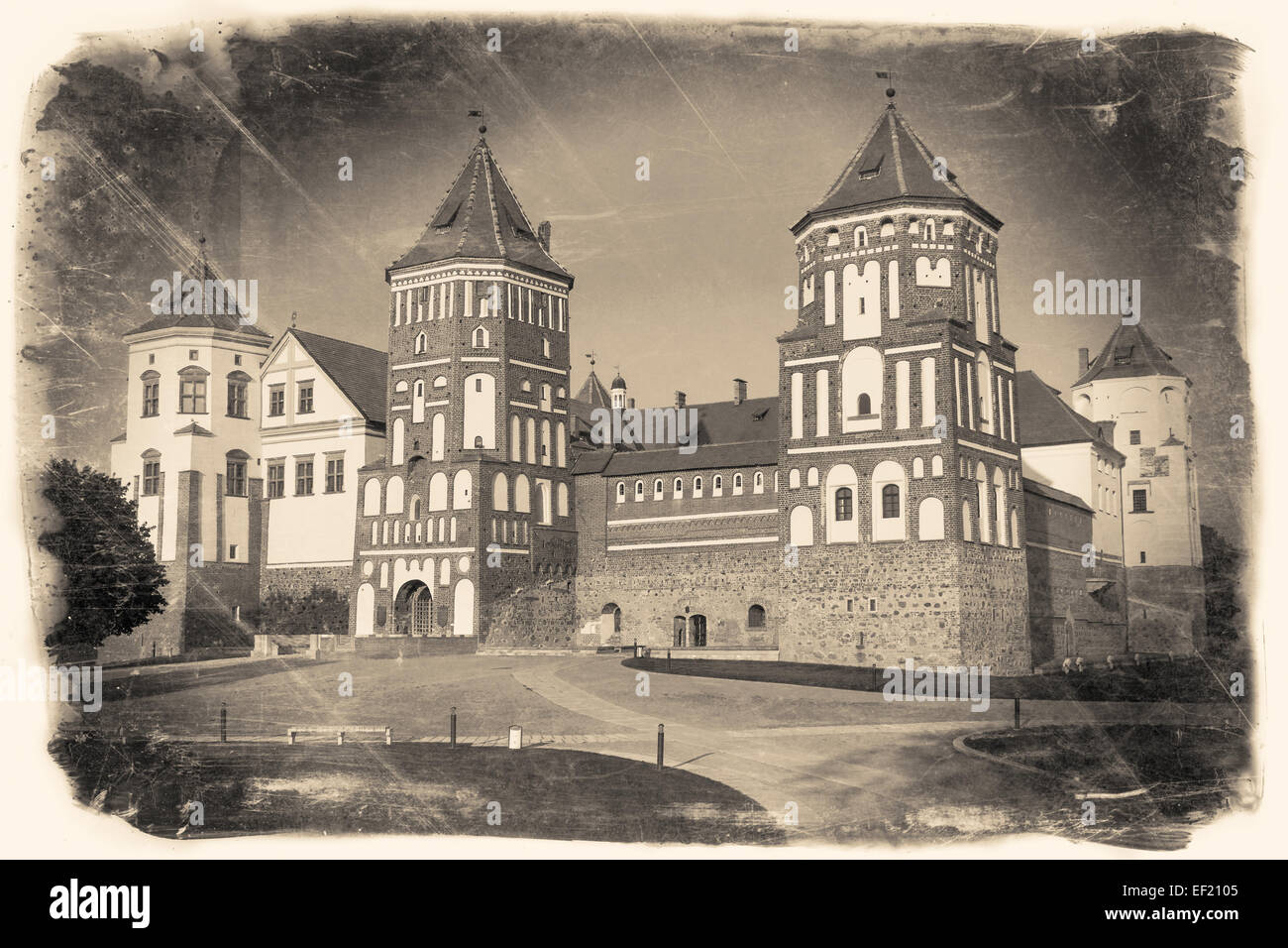 Vintage retro stylized travel image of  belorussian tourist landmark attraction Mir Castle. - Stock Image