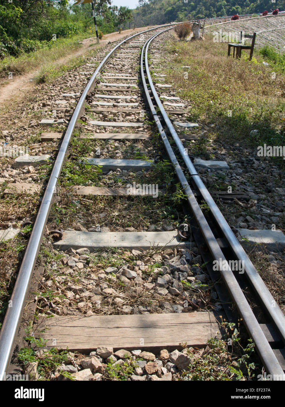 Section of the historical Burma Railway, also known as the Death Railway, near Heho, Shan state, Myanmar - Stock Image