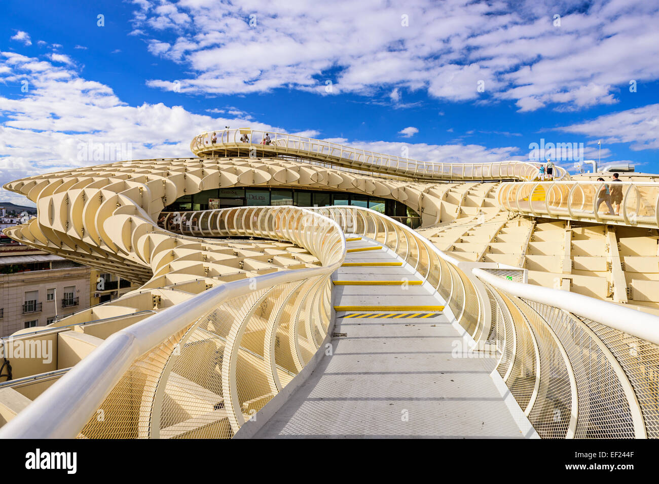The Metropol Parasol walkway in Seville. Located in the old quarter, the structure opened to public controversey - Stock Image
