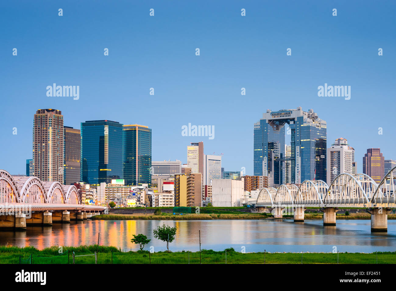 Osaka, Japan skyline at Umeda from across the Yodogawa River. - Stock Image