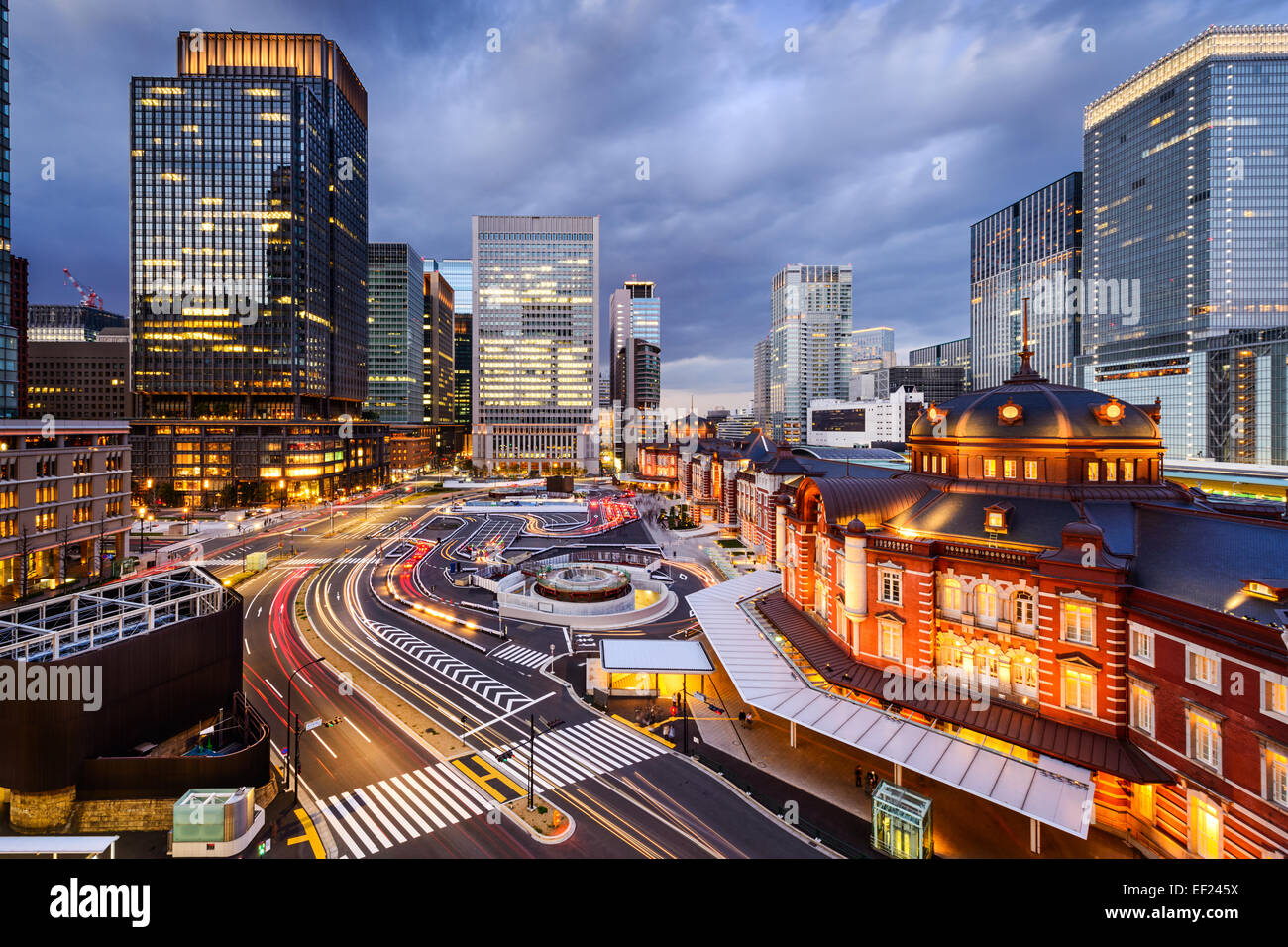Tokyo, Japan cityscape in the Marunouchi District and Tokyo Station. - Stock Image