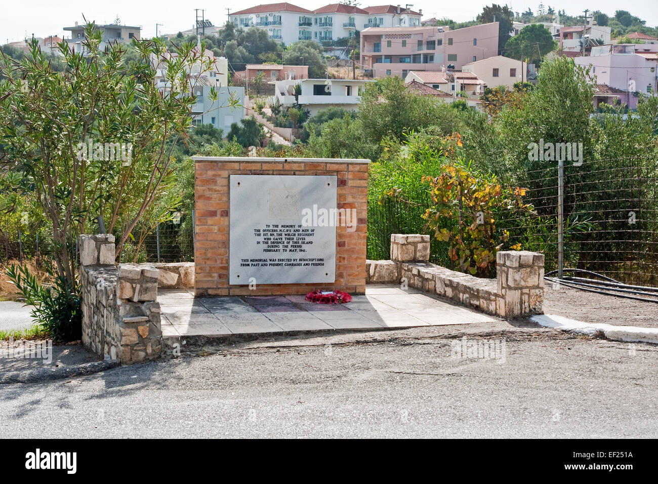 Roadside memorial in Galatas, Crete, to the men of The Welch Regiment, British Army, who died in the Battle for - Stock Image