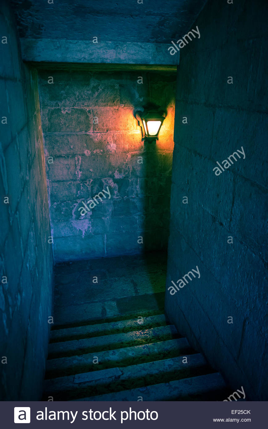 Wall lantern inside old tower - Stock Image