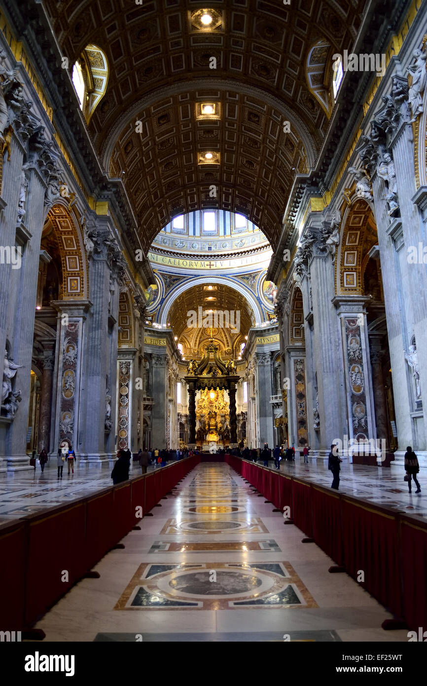Inside St. Peters Basilica, Rome, Italy Stock Photo
