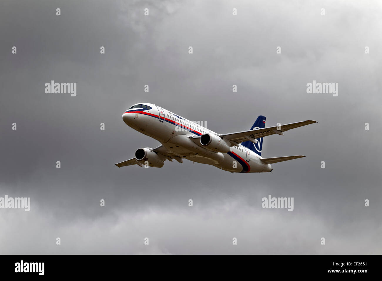 A Sukhoi Superjet 100, RA-97005, from the Sukhoi Company, Komsomolsk-on-Amur, Russia, at the RIAT, RAF Fairford, - Stock Image