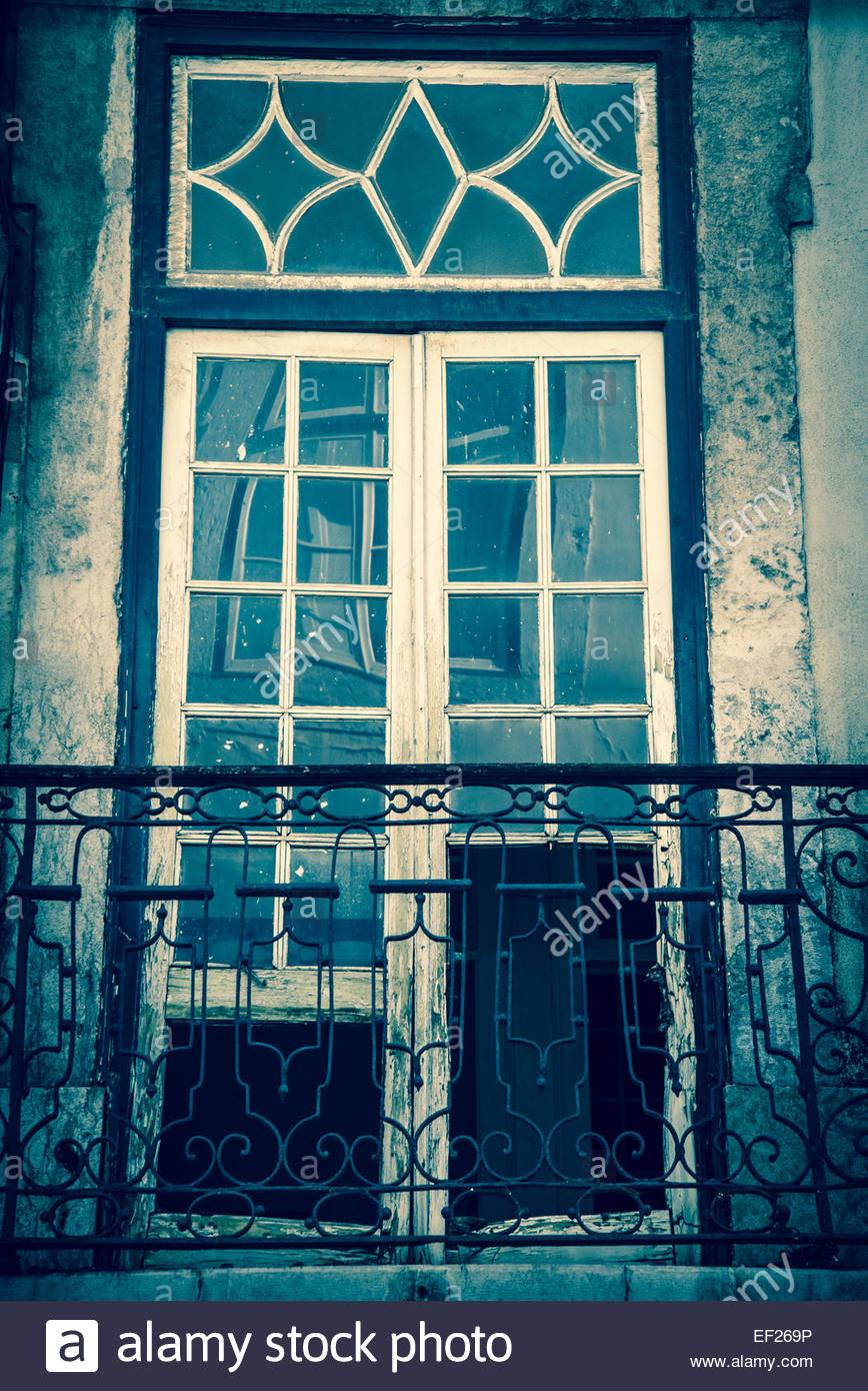 Window and balcony, Lisbon, Portugal - Stock Image