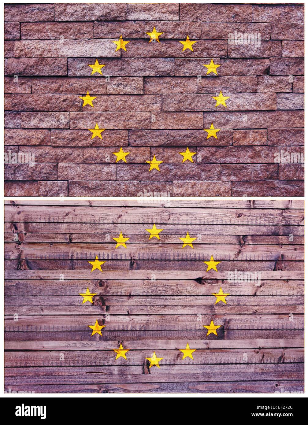 Vintage wall flag of European Union - Stock Image
