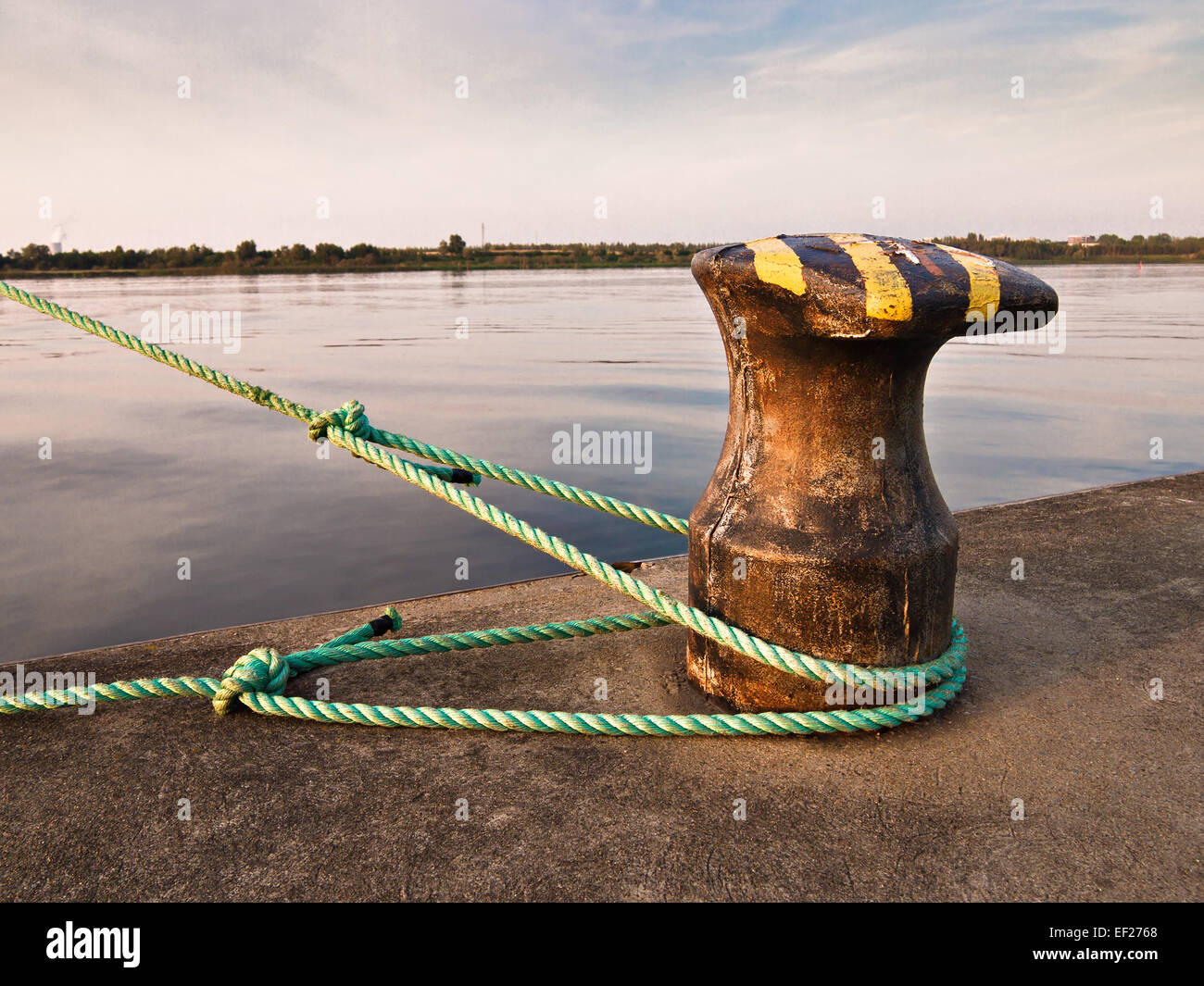 A poller in a port. - Stock Image