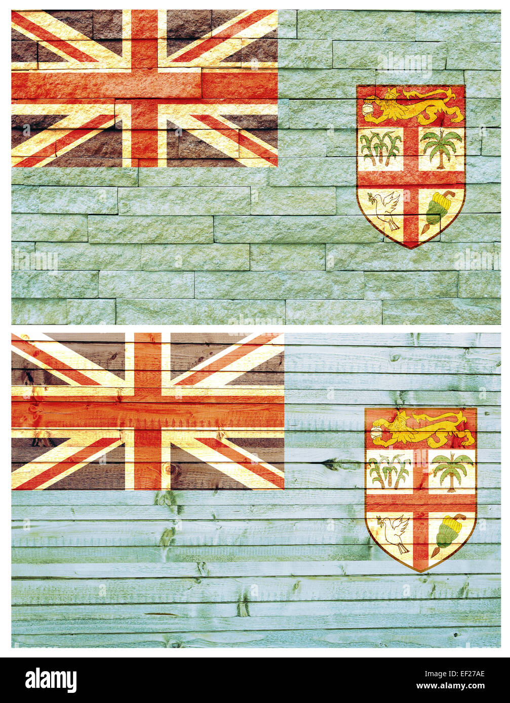Vintage wall flag of Fiji - Stock Image