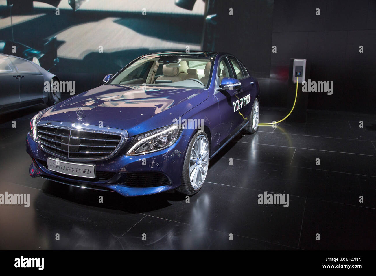 Detroit, Michigan - The Mercedes-Benz C-Class plug-in hybrid car on display at the North American International - Stock Image