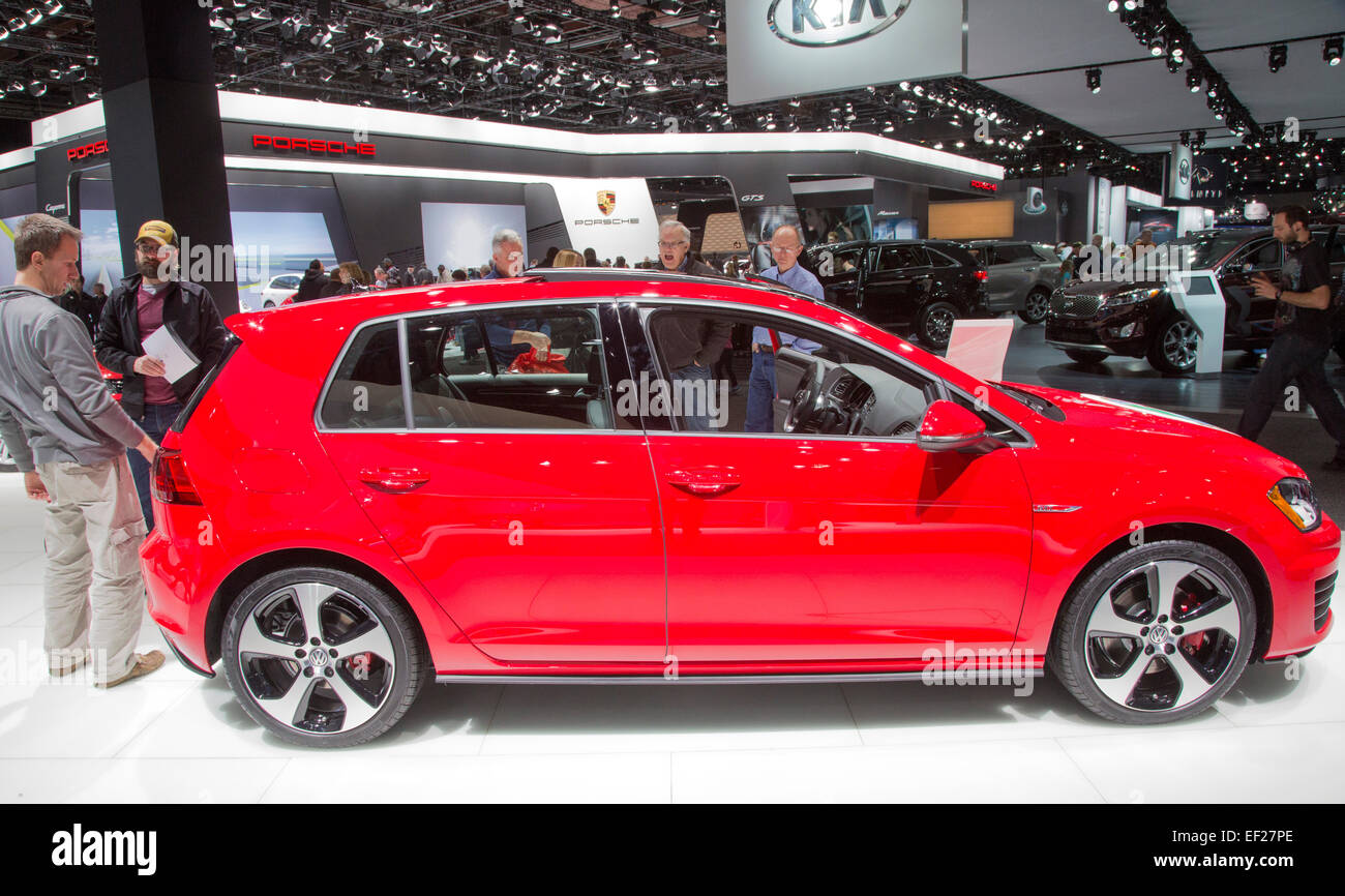 Detroit, Michigan - The VW Golf on display at the North American International Auto Show. - Stock Image