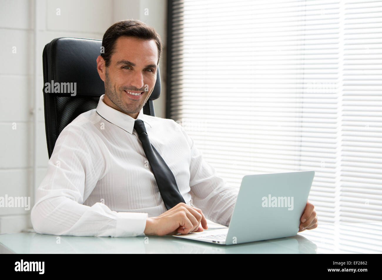 Half length portrait of a male businessman, smiling at camera and working with a laptop computer - Stock Image