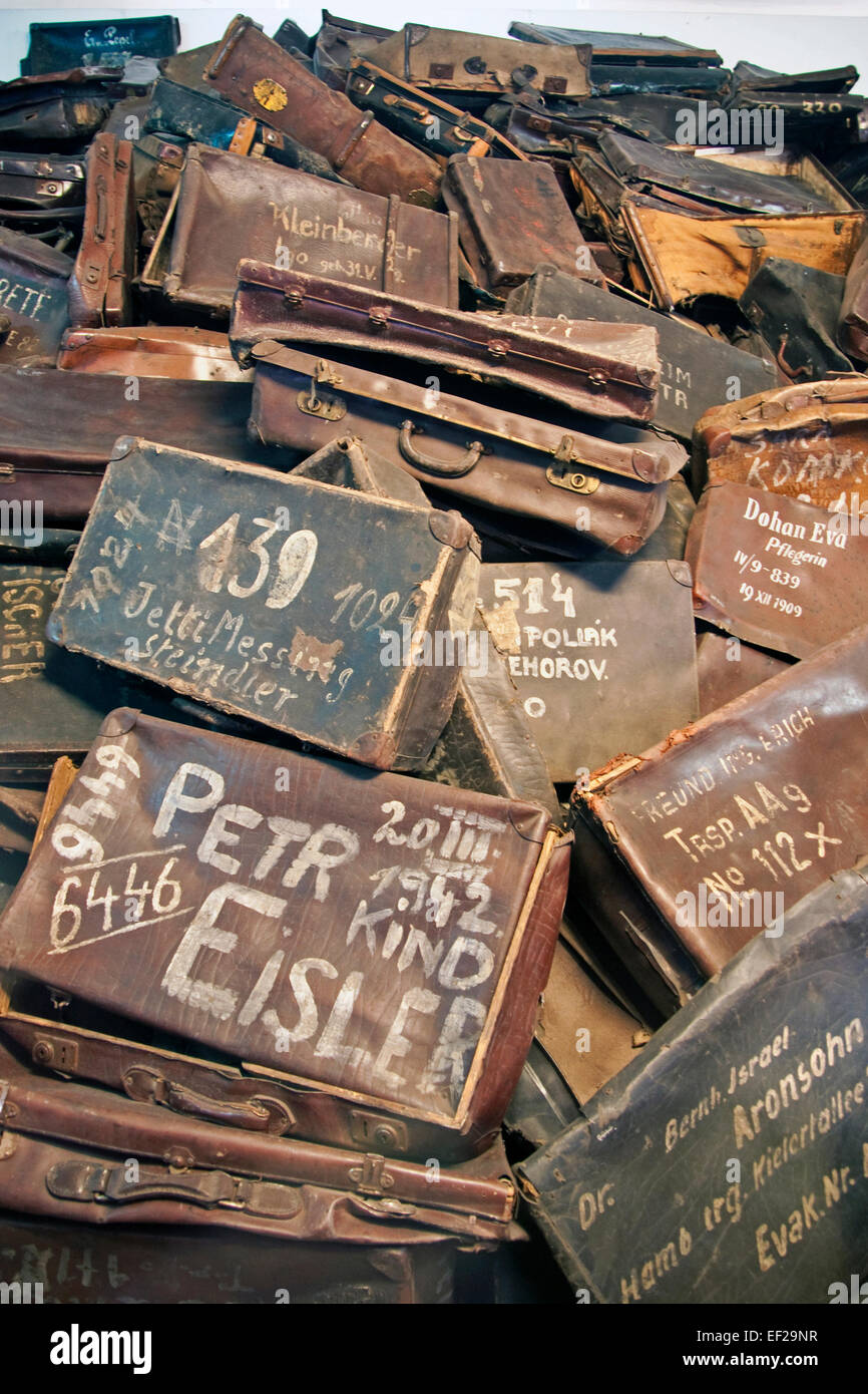 Luggage of victims displayed at Auschwitz camp of Auschwitz-Birkenau Memorial State Museum. - Stock Image