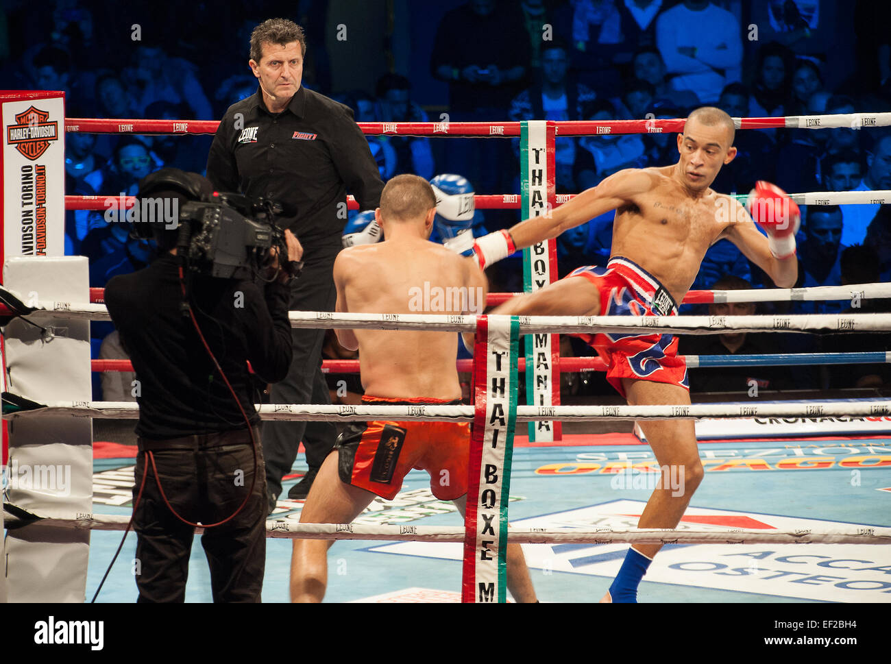 Italy Piedmont Torino Palasport Palaruffini 2015 24th January  2015 Thai Box Mania Event - Word Title Champ. WKN - Stock Image