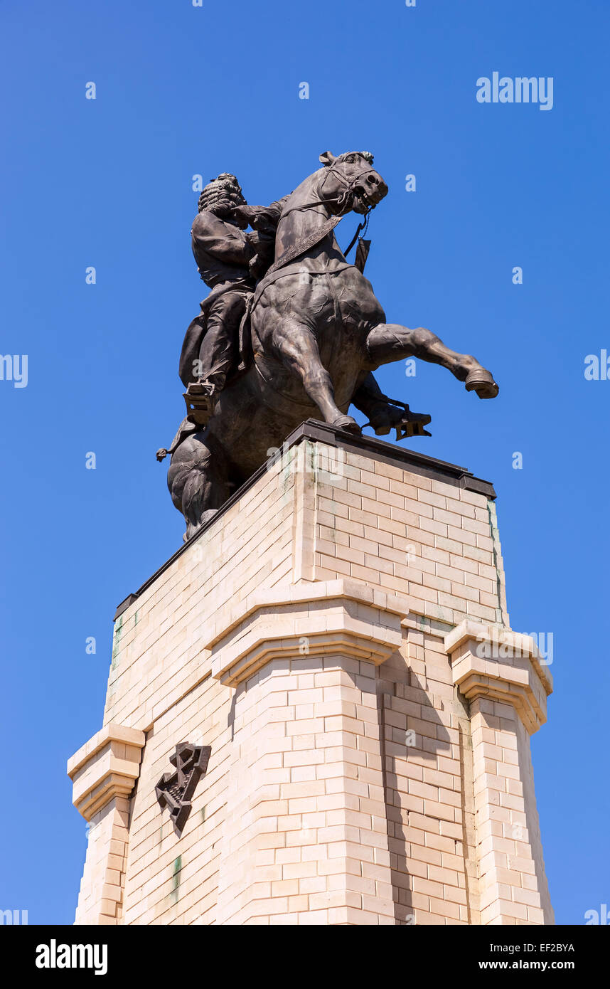 Equestrian statue to the founder of Togliatti Vasily Tatishchev. Monument was unveiled on Sept - Stock Image