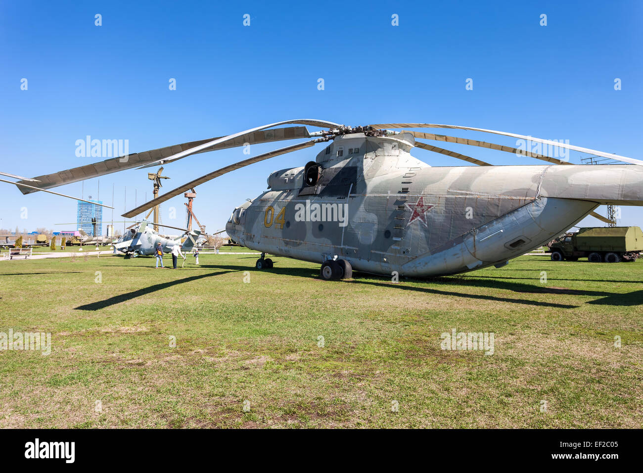 The heavy Russian military transport helicopter Mi-26 'Halo' in Togliatti Technical museum - Stock Image