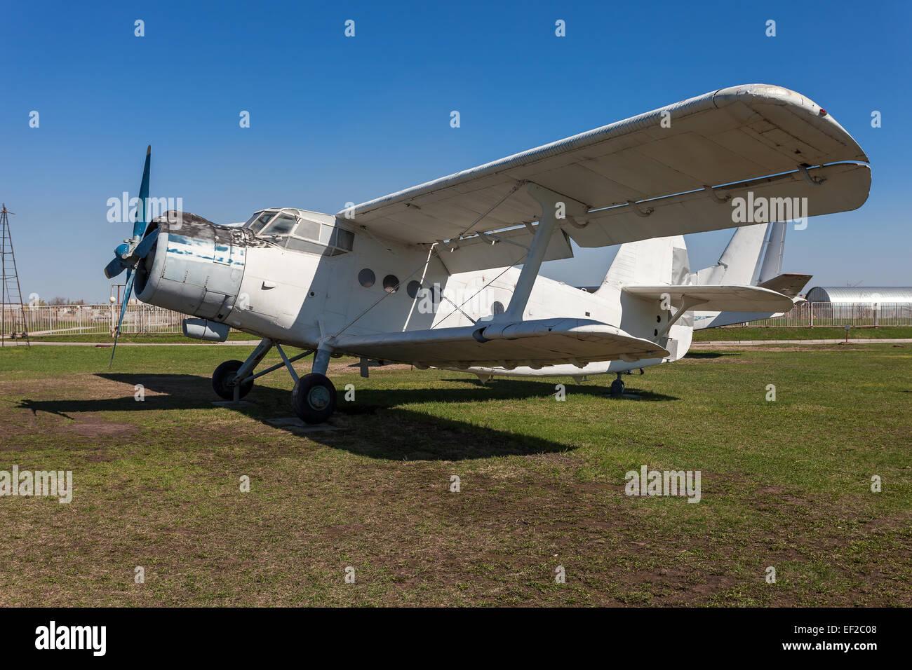 The Antonov An-2 is a Soviet mass-produced single-engine biplane in Togliatti Technical museum - Stock Image