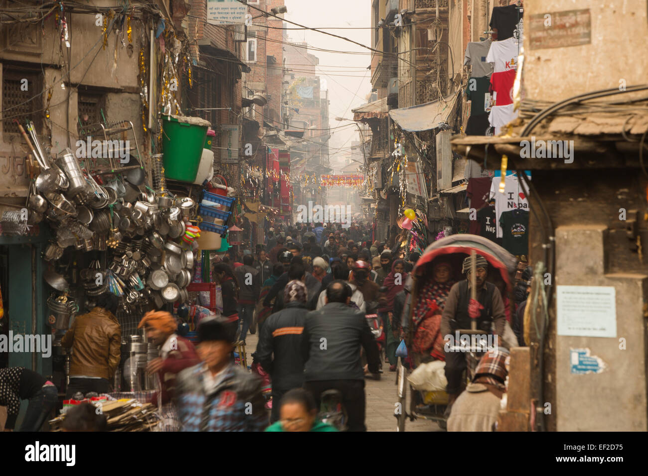 Crowded streets of downtown Kathmandu, Nepal. - Stock Image