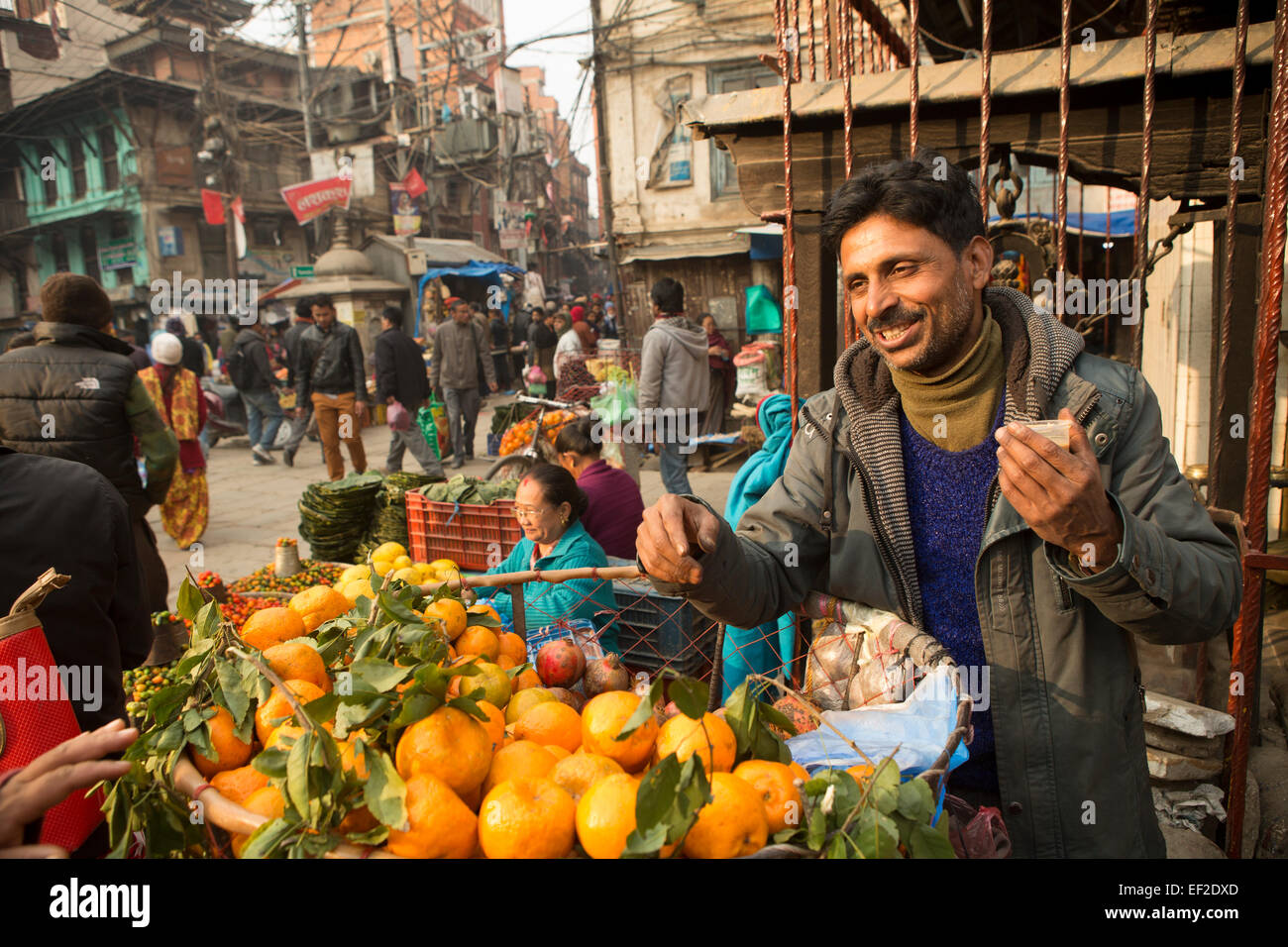 Orange Seller - Kathmandu, Nepal. - Stock Image