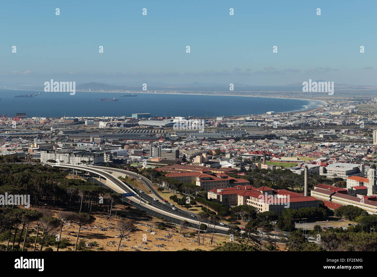 Aerial view of Groote Schuur hospital, the N2 highway and Table Bay, viewed from the slopes of Devil's Peak, - Stock Image